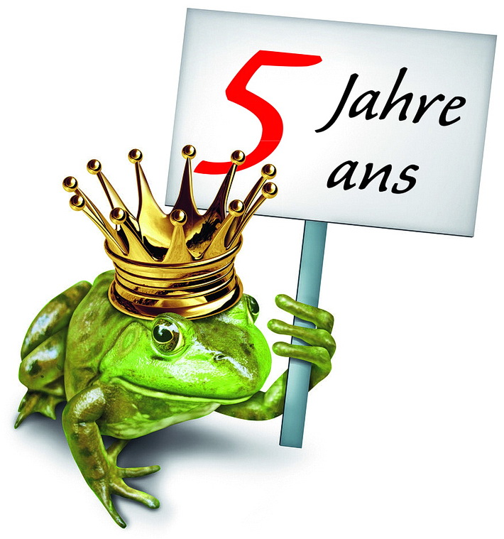 Frosch mit 5-Jahres Schild
